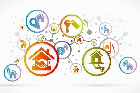 Immobilien icon set abstrakten Hintergrund Standard-Bild - 21934522