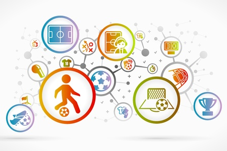 Soccer icon set abstract background Vector