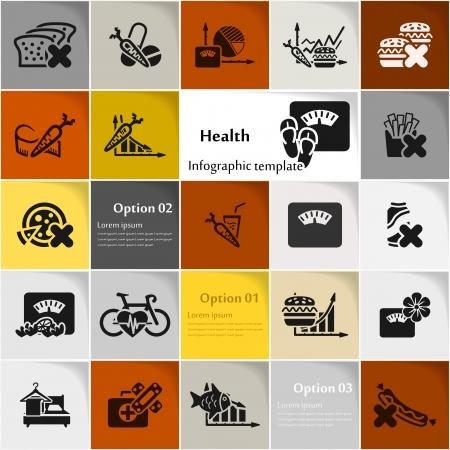 buena salud: Icono de la Salud estableci� vector resumen de antecedentes Vectores