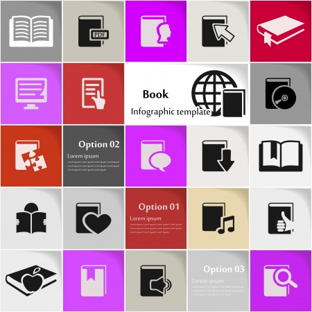 e learn: Book icon set vector abstract background Illustration