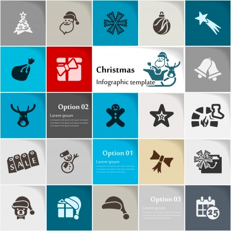 Christmas icon set vector abstract background Vector