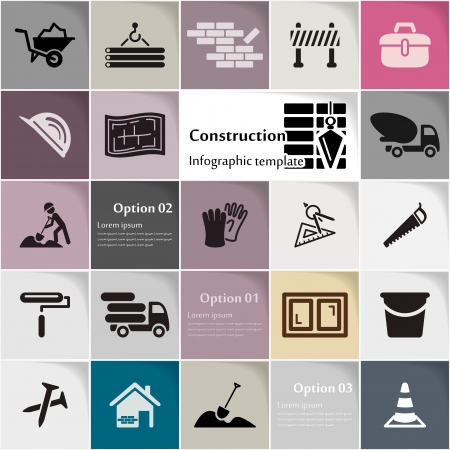 Construction icon set vector abstract background