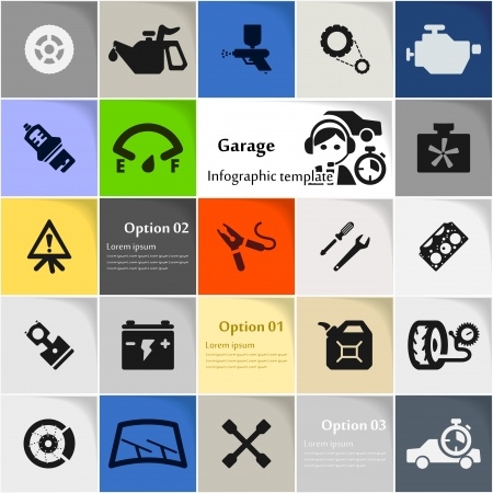 spare part: Garage icon set vector abstract background Illustration