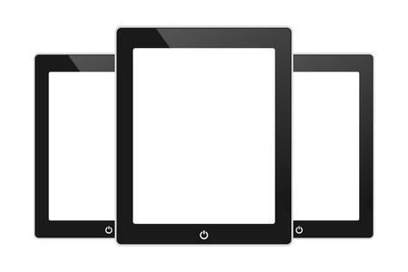 tabletpc: Vector black touch screen tablet similar to pad  isolated on white
