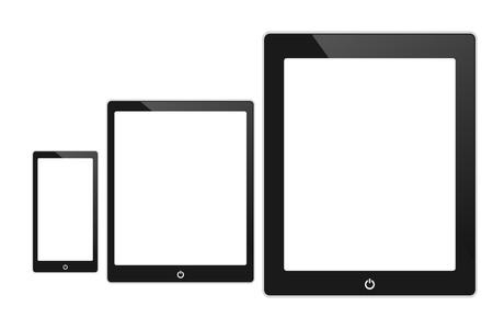 digitized: Vector negro touch tablet pantalla similar a la almohadilla aislados en blanco