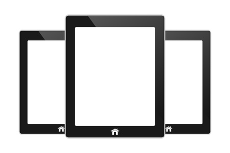 Vector black touch screen tablet similar to pad  isolated on white Stock Vector - 21987137