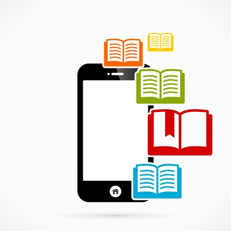 Books mobile phone applications vector illustration Vector