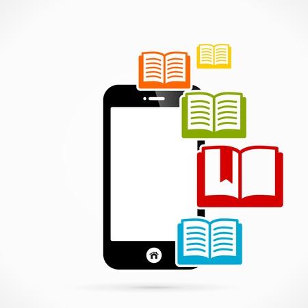 e book: Books mobile phone applications vector illustration Illustration