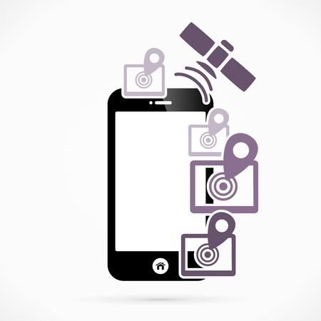 sattelite: GPS mobile phone applications vector illustration