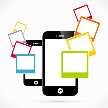 Foto mobiele telefoon applicaties vectorillustratie Stock Illustratie