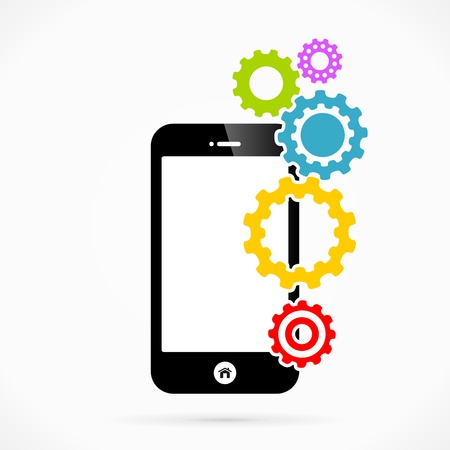 expected: Settings mobile phone applications vector illustration