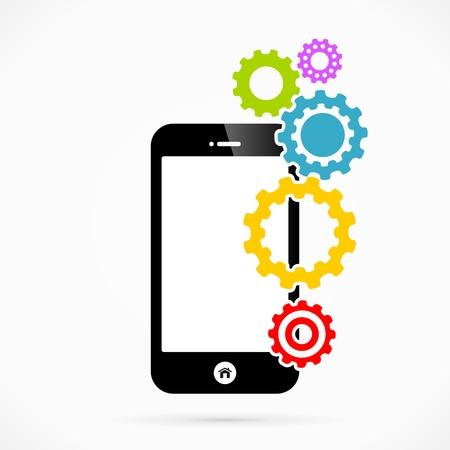 Settings mobile phone applications vector illustration Stock Vector - 22101372