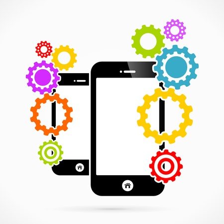intermission: Settings mobile phone applications vector illustration