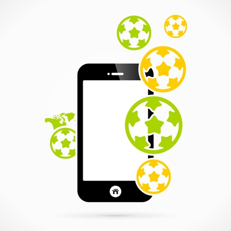 mondial: Soccer mobile phone applications vector illustration