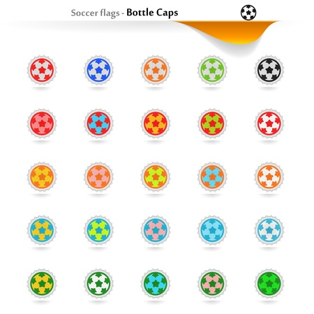 romania flag: Bottle caps soccer flags collection Illustration