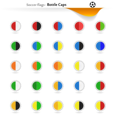 Bottle caps soccer flags collection Vector