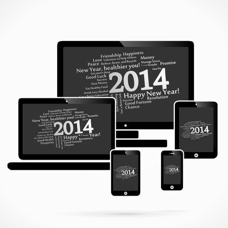 2014 abstract woordwolk vector achtergrond Stock Illustratie