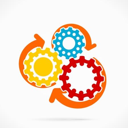 Abstract synchronized gear vector illustration