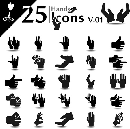 Hand icon set, basic series Vector