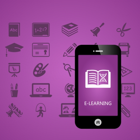 E-learning mobile phone applications vector illustration Vector