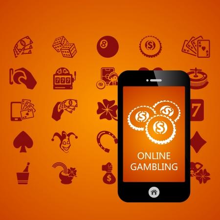 roulette online: Gambling mobile phone applications vector illustration Illustration