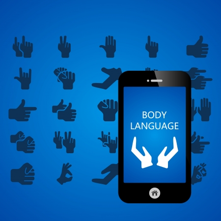 Body language mobile phone applications vector illustration Vector