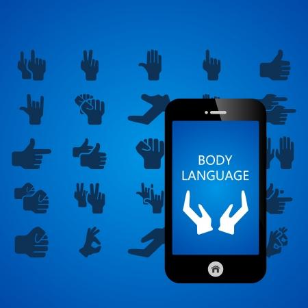 'body language': Body language mobile phone applications vector illustration