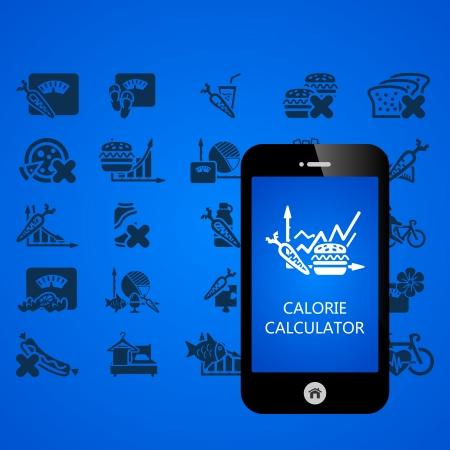 slow food: Salute telefono cellulare applicazioni illustrazione vettoriale