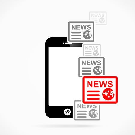 news flash: Mobile phone news  abstract vector illustration