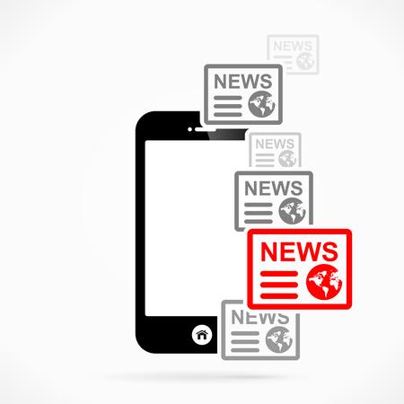 news flash: Mobile phone news  abstract vector illustration