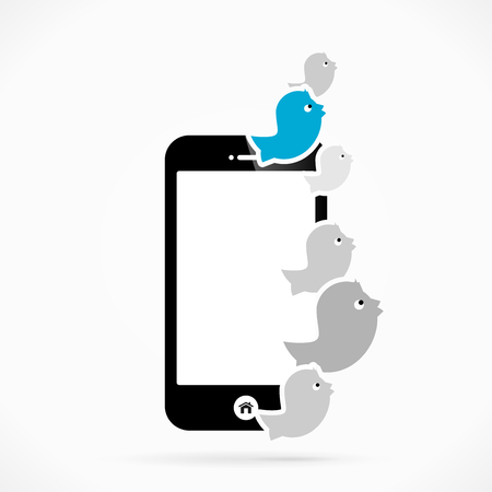 Mobile phone tweet  abstract vector illustration Vector