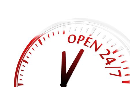 twenty four hours: Open 24 7 clock vector illustration Illustration