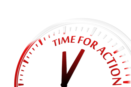 motivated: Time for action clock vector illustration