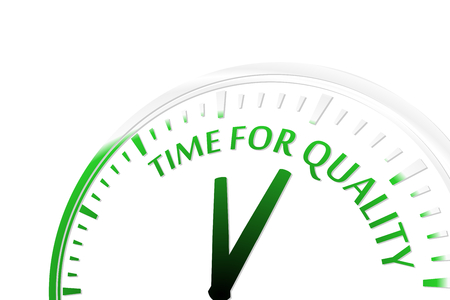 goal setting: Time for quality clock vector illustration