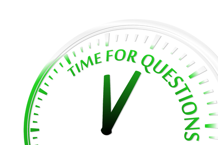 Time for questions clock vector illustration Vectores