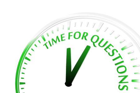 preguntando: Tiempo para preguntas reloj ilustraci�n vectorial