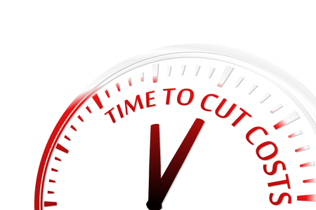 cost reduction: Time to cut costs clock vector illustration Illustration