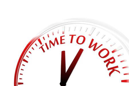 motivating: Time to work clock vector illustration Illustration