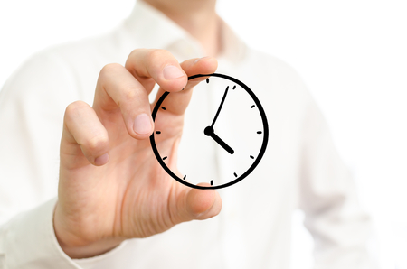 timekeeping: Hand holding sketched time clock