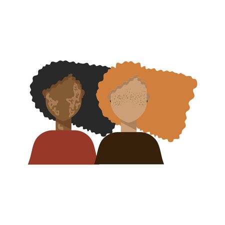 Illustration of a beautiful girl with freckles and vitiligo. Young women: with different skin colors and hair. European and African women develop hair, demonstrates their skin and face. The concept of a variety of skin color and its features.