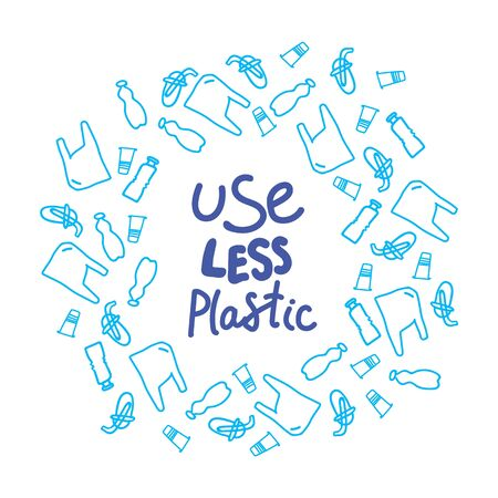 Quote Use less plastic, letters are handwritten in a circle of plastic waste. Environmental protection, ecology. Plastic is free. Zero waste. Eco friendly. Background vector clipart. Stimulating quote, slogan, collage.
