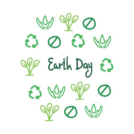 Earth Day slogan in a circle vector of linear simple icons - a waste-free concept, the principles of a sustainable and plastic-free life - reduce, refuse, recycle, reuse, rot - take care of consumption