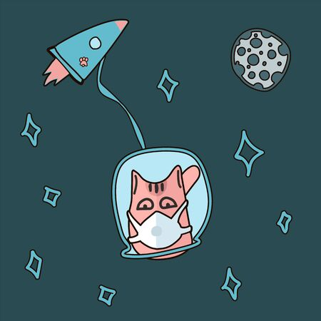 A cute cat in a mask flies in print space. Baby vector illustration in scandinavian style. Space, stars, moon with craters, fur seals on the earth, coronavirus, COVID-19, mask, cat in space, rocket. Ideal for design of children's and children's clothes, wall art, poster