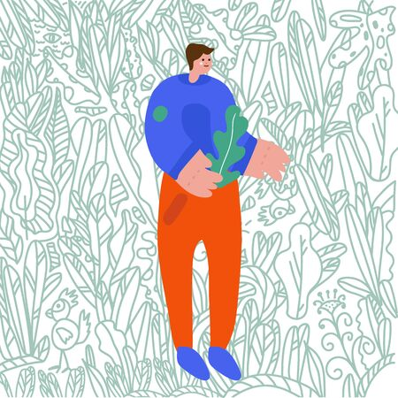 Vector illustration The guy with the drill flat vector illustration. Background drawn by hand, foliage, nature, garden. Doodle style background. Flat design men. Guy with plants plants isolated cartoon characters. Demonstration of the garden, vegetable garden, planting