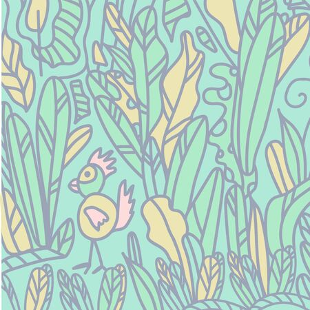 Background drawn by hand, foliage, nature, garden. Doodle style background. Flat design texture with plants plants plants isolated cartoon characters. Demonstration of the garden, vegetable garden, planting