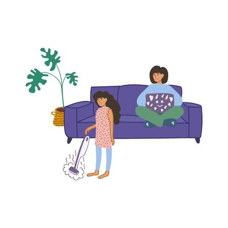 Hand-drawn illustration, family cleaning the house. Two sisters communicate and teach each other. A girl with a laptop looks like they are cleaning at home, sitting on the couch. Sister is cleaning the house with a steam mop. Stay indoors. Home schooling. Vector illustration