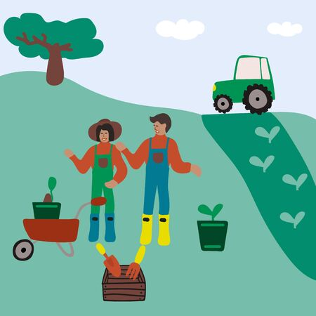 Hand-drawn illustrations, farm plant growing. Illustrations showing the planting of plants in the spring on the farm. People on a farm in boots. People in nature. Do not stay at home. Relax Unity with nature. Vector illustration