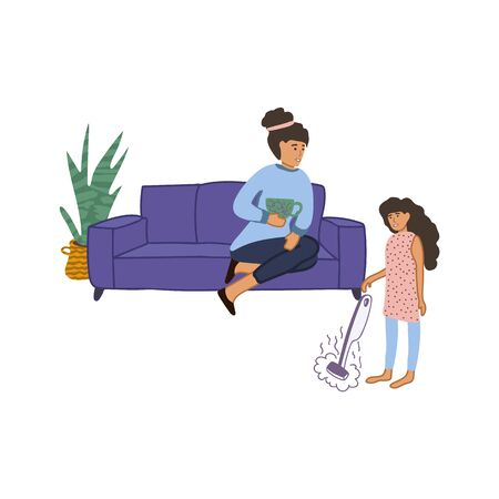 Hand-drawn illustration, family cleaning the house. Mom and daughter communicate. Mom looks after the squalor sitting on the couch, daughter cleans the house. Daughter cleans the house with a steam mop. Stay indoors. Home schooling. Vector illustration. Ilustracja