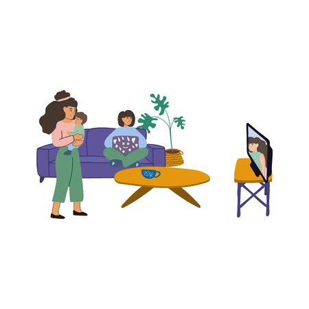 Hand-drawn illustration, family watching tv news. Mom with a baby in her arms, stands and watches the news. A girl with a laptop watching a television, sitting on a sofa. Family at home, in the midst of a pandemic. Stay indoors. Vector illustration