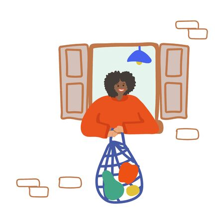 Drawing hand-drawn man in the window sits at home. Enjoy being at home, home comfort. Leader at home. Household chores and hobbies